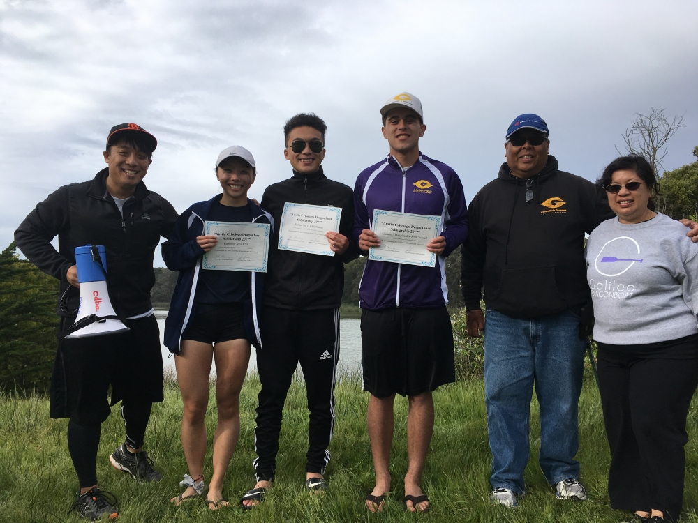 From left to right, are: CDBA president Jonathan Kong, Katherine Ngo, Nathan So, and Claudio Aldag. Also pictured are scholarship sponsors Terry and Gayline Tom.